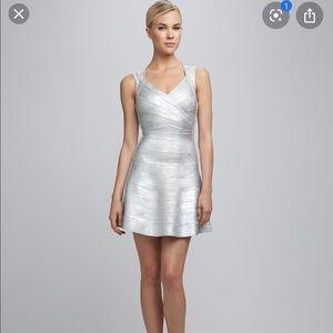 Herve Leger Silver Bandage Dress Breton Size Small